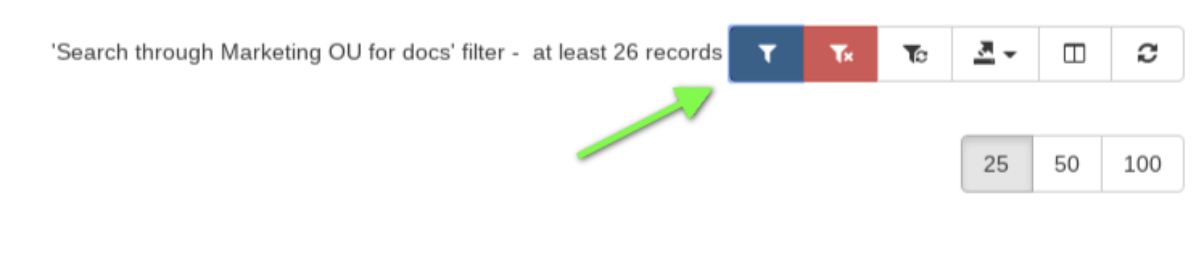 use the 'Apply custom filter' button to search and find the specific files