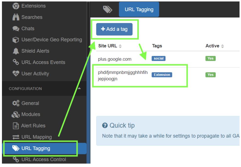 url tagging rule in GAT Shield