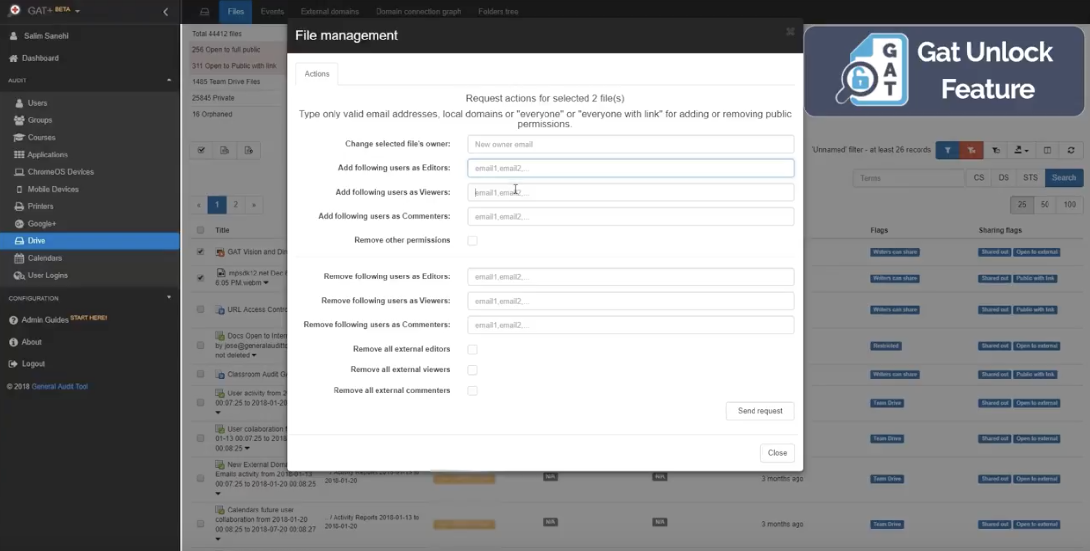 Select file management in the Drive Audit