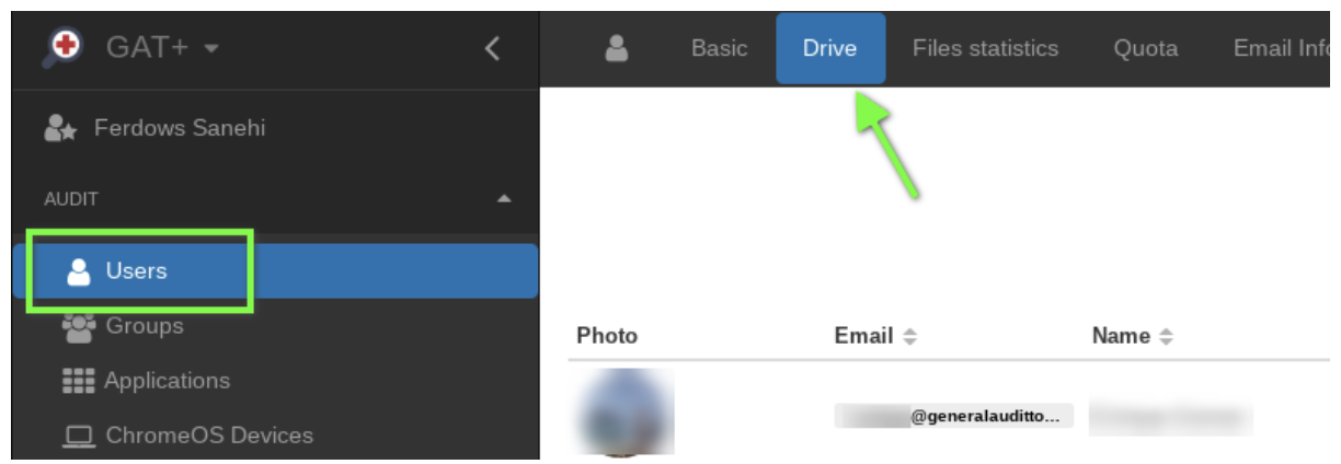 In User Audit in GAT+ select the 'Drive' tab.