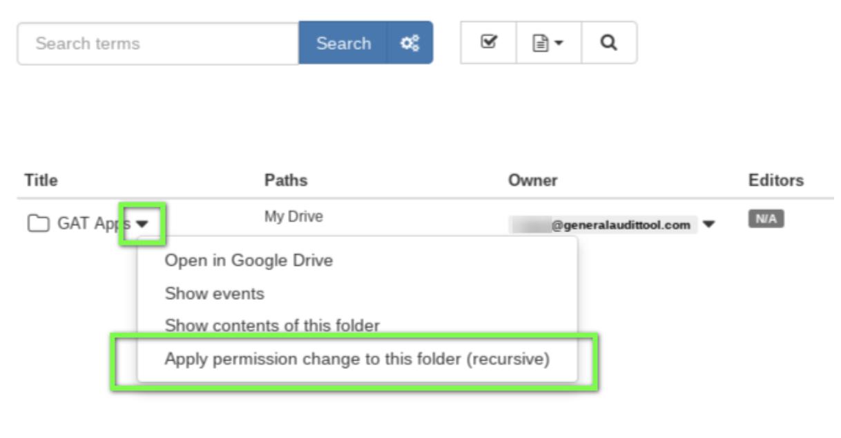 "select ""Apply permission Change to this folder (recursive)"