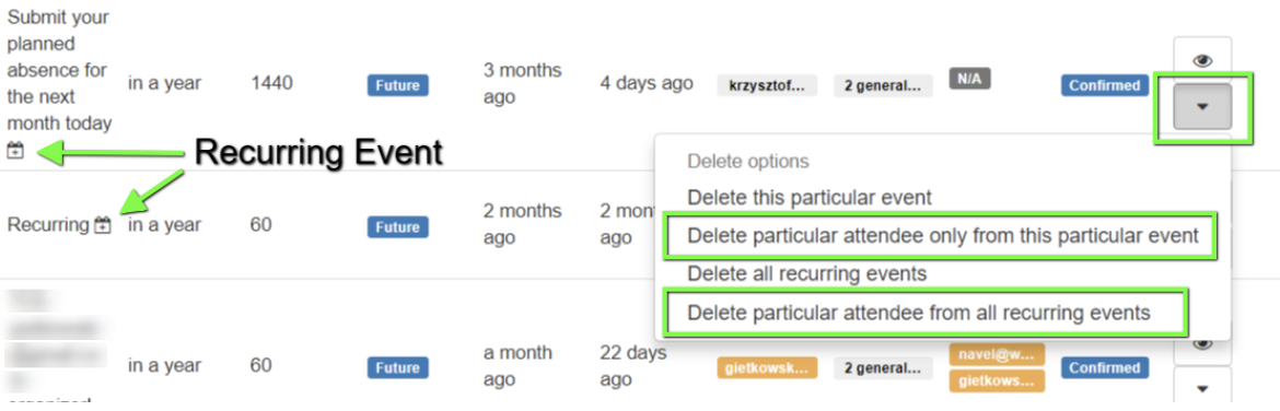 Delete particular attendees from an event or for all occurrences of that recurring event.