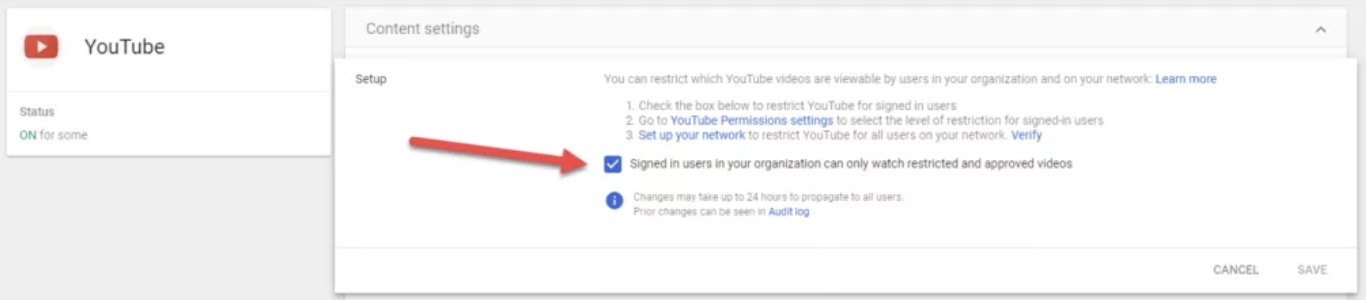 Check the box next to Signed in users in your organisation can only watch restricted and approved videos