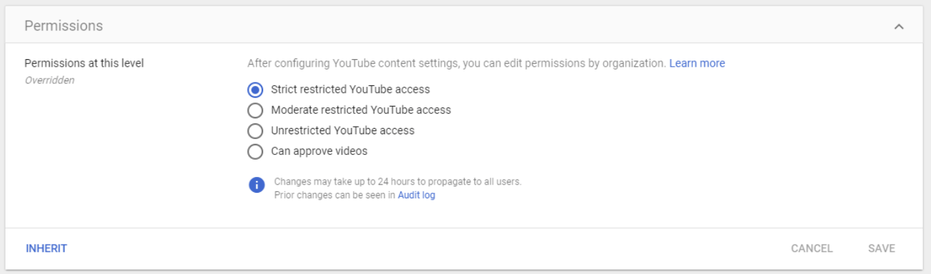 On the left side of the screen you can choose which OU you want to set permissions for.