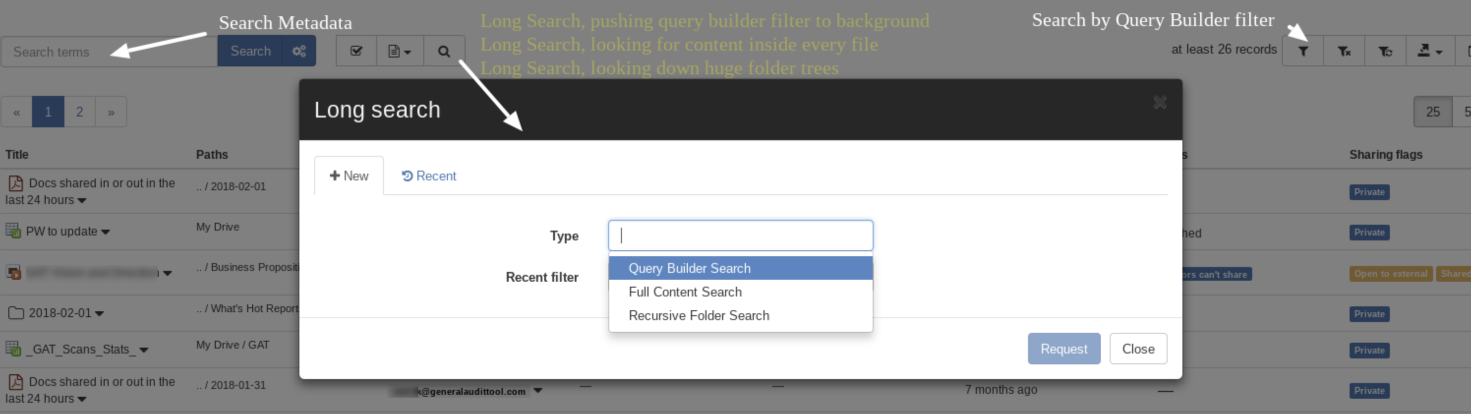 Drive audit new UI has introduced a whole range of new searches