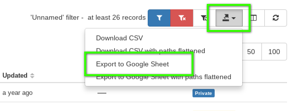 export to google sheets
