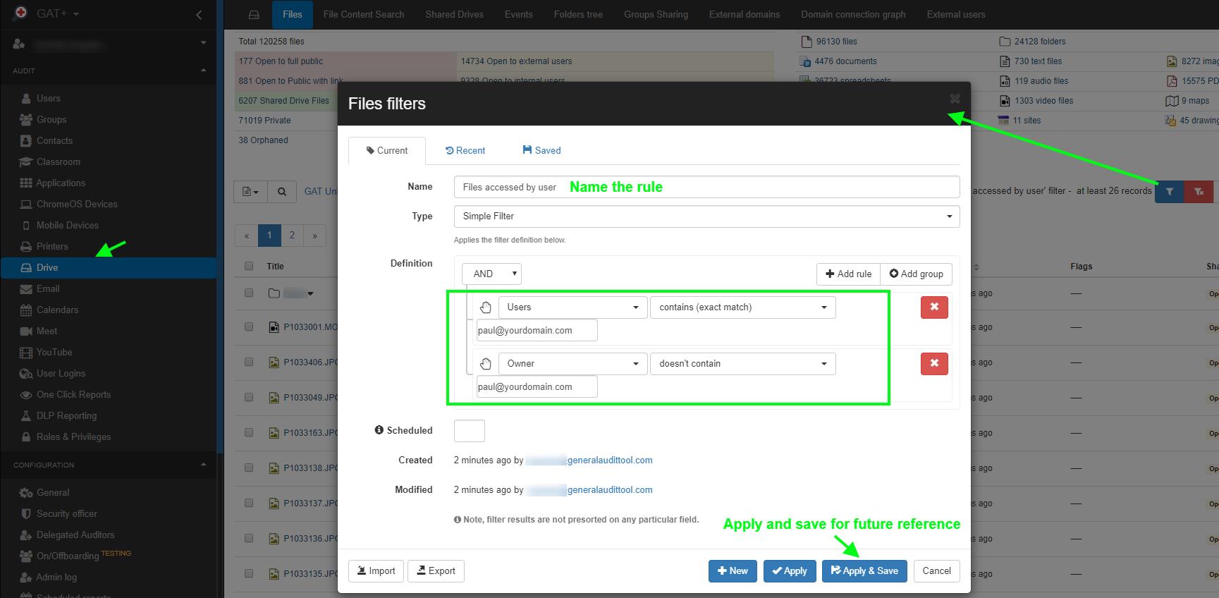 GAT+: Manage G Suite Permissions: List a User's Folder Access Permissions 1