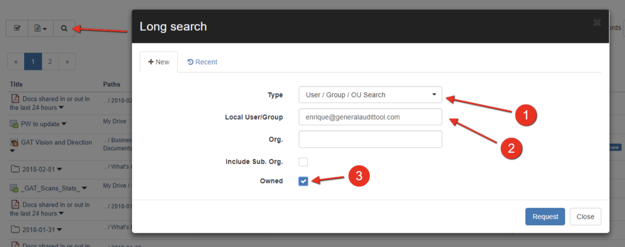 use the Long Search in Drive audit