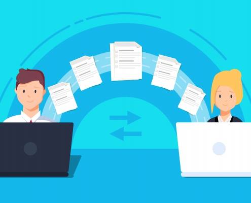 File transfer. Two laptops transferred documents. Copy files, data exchange, backup, PC migration, file sharing concepts. Flat design graphic elements. illustration