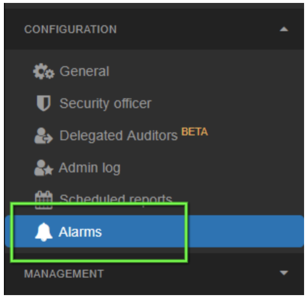 select 'alarms'