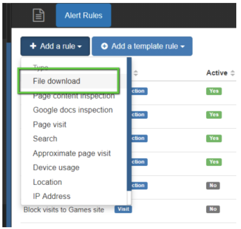 Click on the Add a rule button, and select File download.