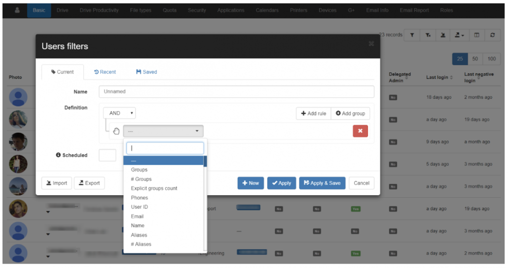 The Users audit allows you to get an overview of all the users across your domain. You can use a custom filter to look for an individual, Groups or OU's.