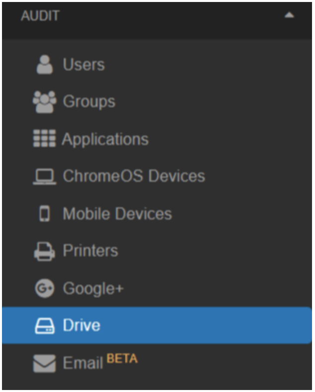 In the GAT+ dashboard, where you can audit all areas of your domain. We'll be starting off a GAT+ Drive audit.