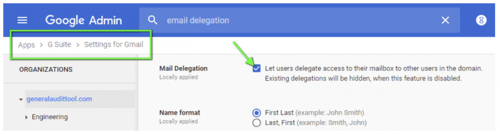 Please ensure email delegation is allowed for users in your domain. Go to the G Suite Admin Console and under Apps > G Suite Apps > Settings for Gmail check if the email delegation box is allowed for your domain.&#8221; class=&#8221;wp-image-23814&#8243;/></figure>    <p>Launch the GAT+ tool, enter the User Audit section and click on the Email Info Tab. </p>    <div class=