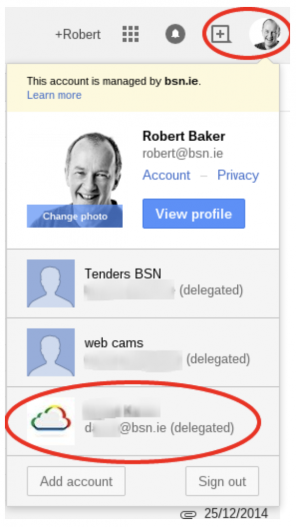 Once granted the delegated account appears in the accounts drop down list when the profile picture is selected in Gmail.