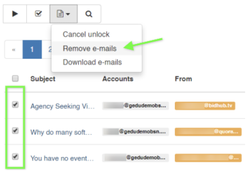 You can then delete one or all of the emails using the drop-down option in the Emails Operation button.