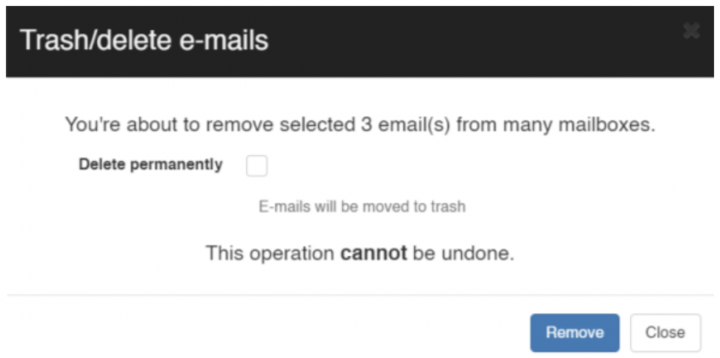 By default, you can send the emails to user's trash folder on their Gmail but if you wish to permanently delete these emails then select 'Delete permanently'.