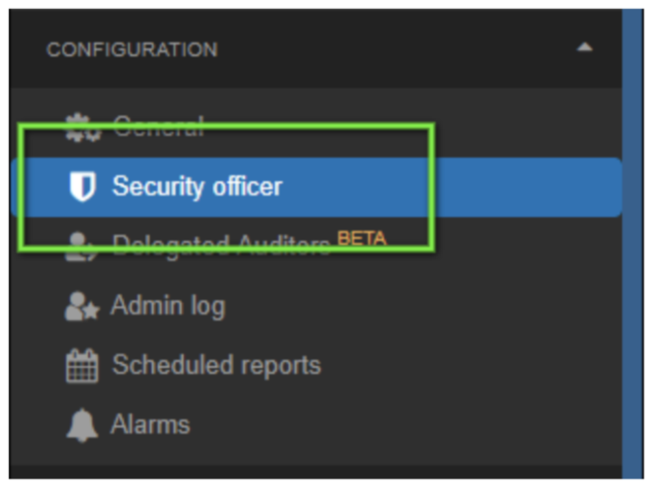 To enable pre-approval for Super Admins navigate to the Configuration section of GAT+ and enter the security officer area.