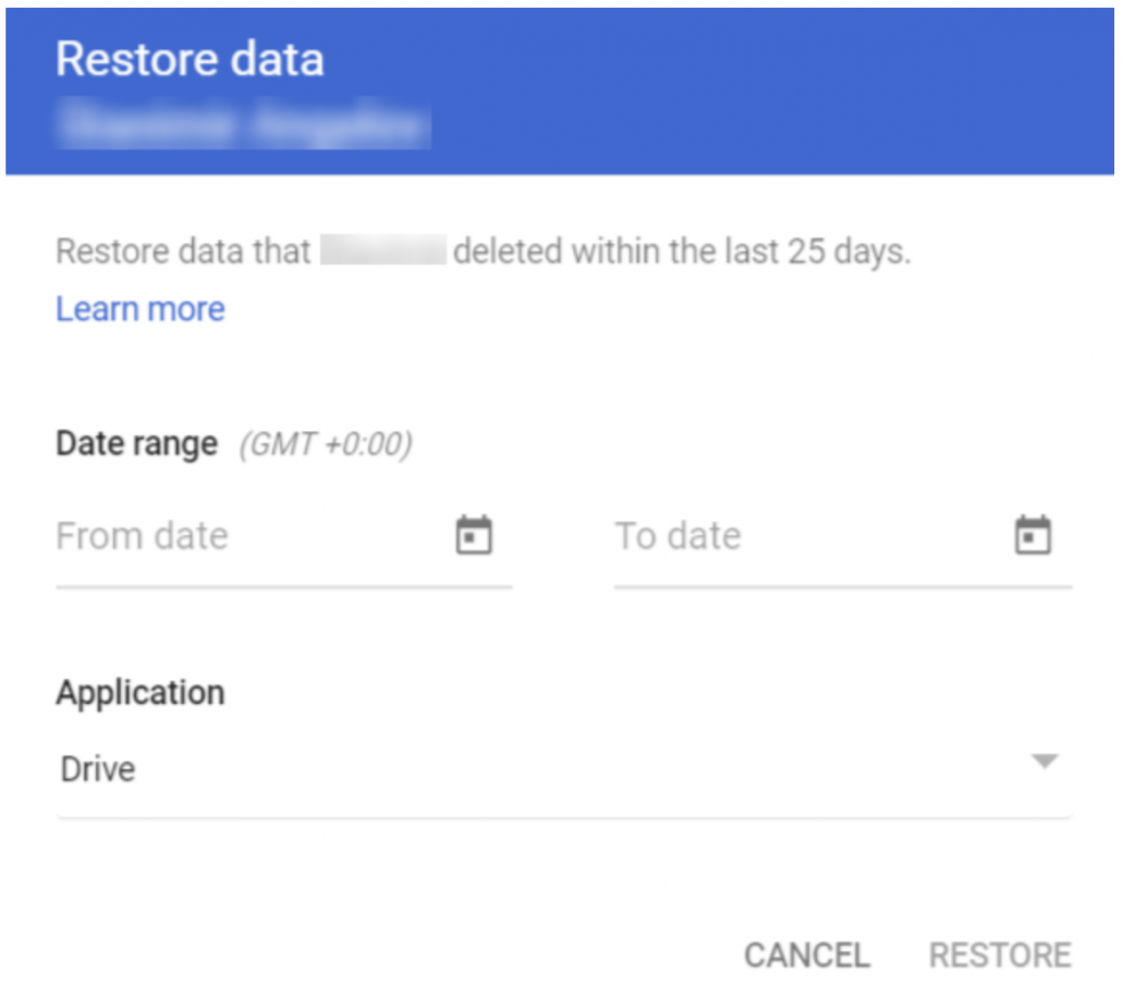 "the ""restore data"" tab."