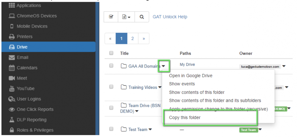 Copy this Folder' Feature GAT Labs for G Suite and Chrome
