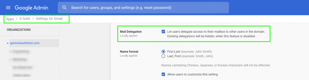 "in the google admin section, go to ""apps"" then ""g suite"" then ""settings for gmail"" then check the box for locally applied mail delegation"